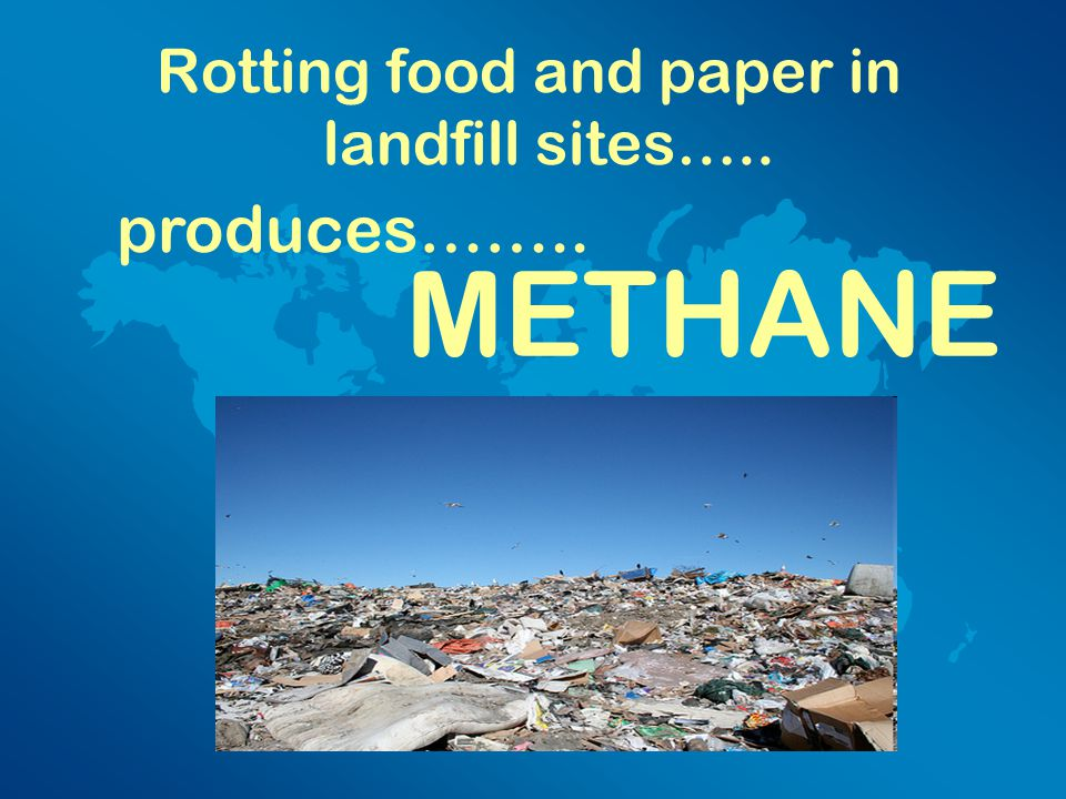 Rotting food and paper in landfill sites….. produces…….. METHANE