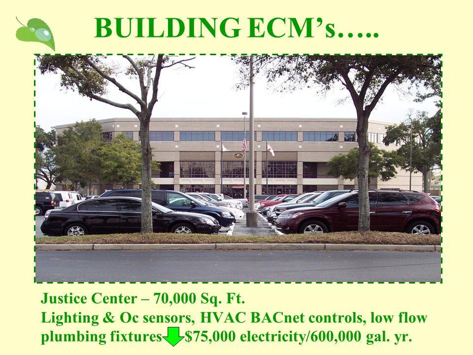 BUILDING ECM's….. Justice Center – 70,000 Sq. Ft. Lighting & Oc sensors, HVAC BACnet controls, low flow plumbing fixtures $75,000 electricity/600,000