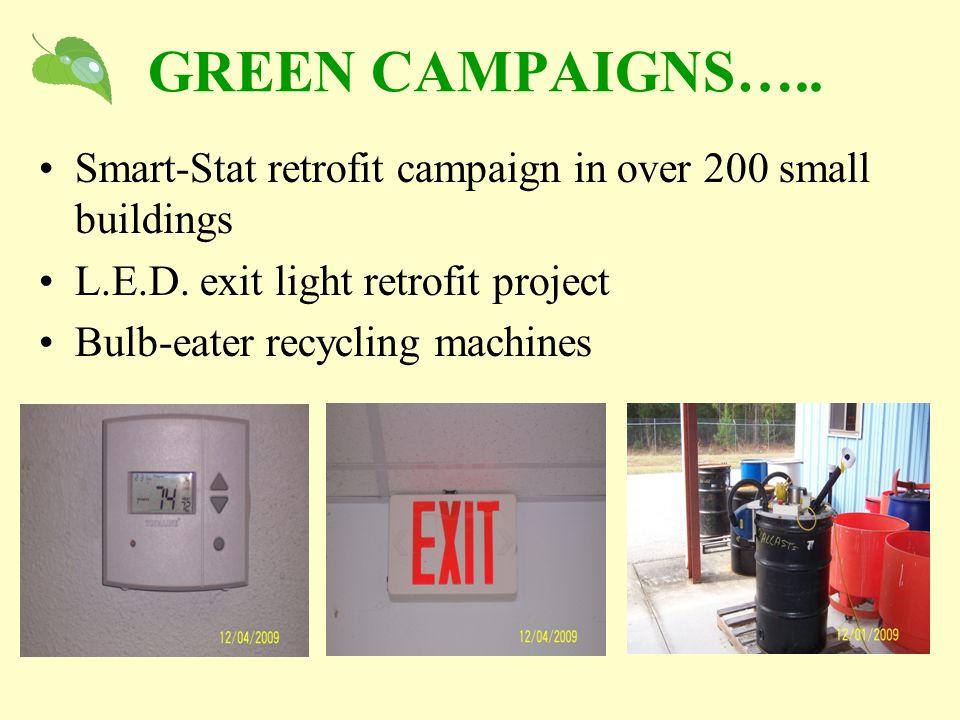 GREEN CAMPAIGNS….. Smart-Stat retrofit campaign in over 200 small buildings L.E.D.