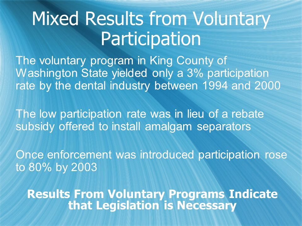 Mixed Results from Voluntary Participation The voluntary program in King County of Washington State yielded only a 3% participation rate by the dental industry between 1994 and 2000 The low participation rate was in lieu of a rebate subsidy offered to install amalgam separators Once enforcement was introduced participation rose to 80% by 2003 Results From Voluntary Programs Indicate that Legislation is Necessary The voluntary program in King County of Washington State yielded only a 3% participation rate by the dental industry between 1994 and 2000 The low participation rate was in lieu of a rebate subsidy offered to install amalgam separators Once enforcement was introduced participation rose to 80% by 2003 Results From Voluntary Programs Indicate that Legislation is Necessary