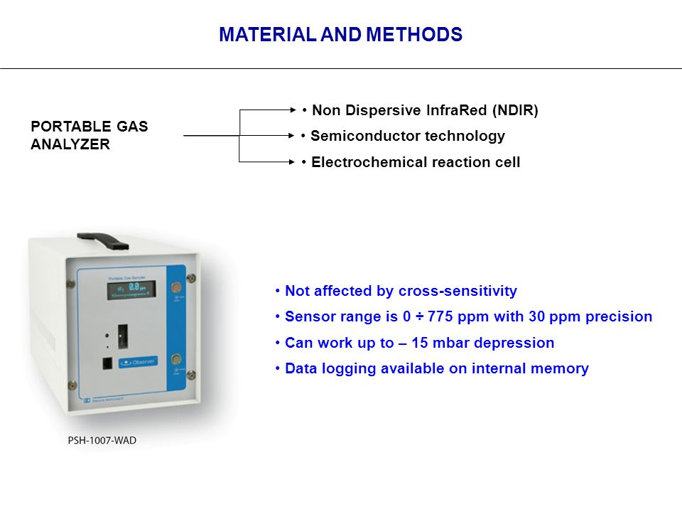 MATERIAL AND METHODS PORTABLE GAS ANALYZER Semiconductor technology Electrochemical reaction cell Non Dispersive InfraRed (NDIR) Not affected by cross-sensitivity Sensor range is 0 ÷ 775 ppm with 30 ppm precision Can work up to – 15 mbar depression Data logging available on internal memory