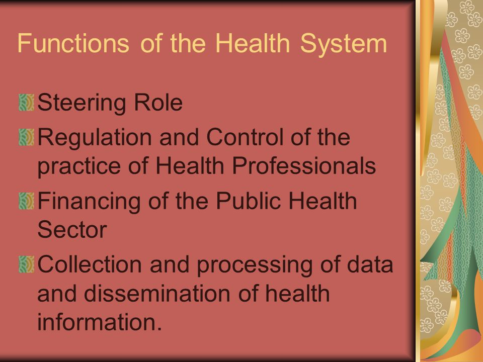 Functions of the Health System Steering Role Regulation and Control of the practice of Health Professionals Financing of the Public Health Sector Collection and processing of data and dissemination of health information.