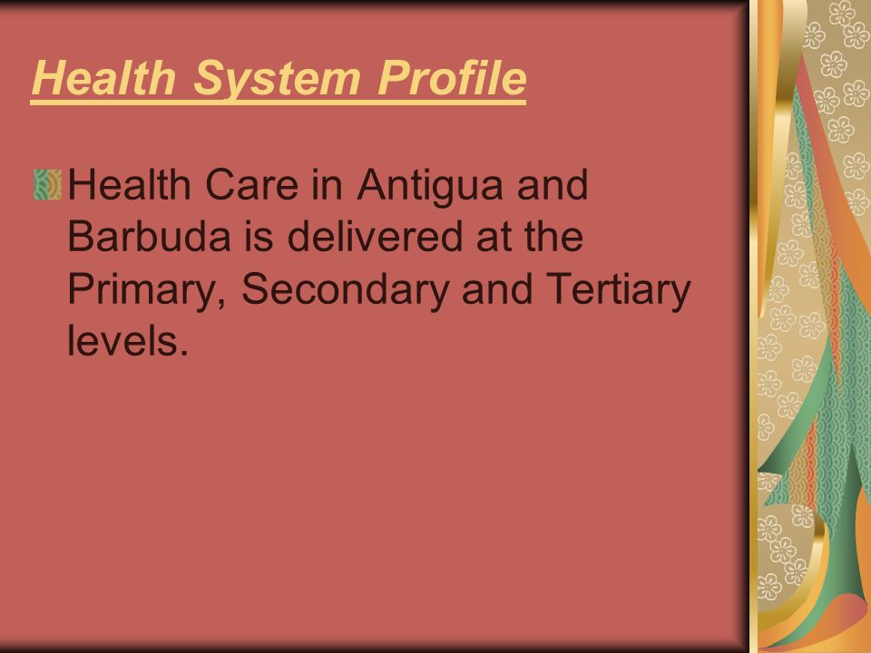 Health System Profile Health Care in Antigua and Barbuda is delivered at the Primary, Secondary and Tertiary levels.