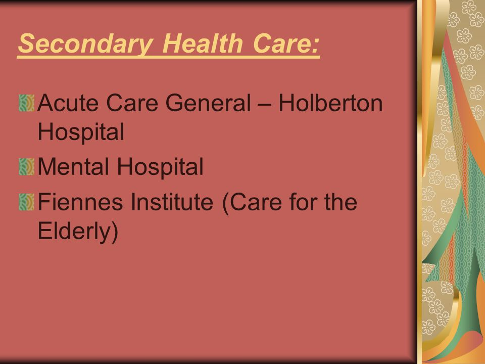 Secondary Health Care: Acute Care General – Holberton Hospital Mental Hospital Fiennes Institute (Care for the Elderly)
