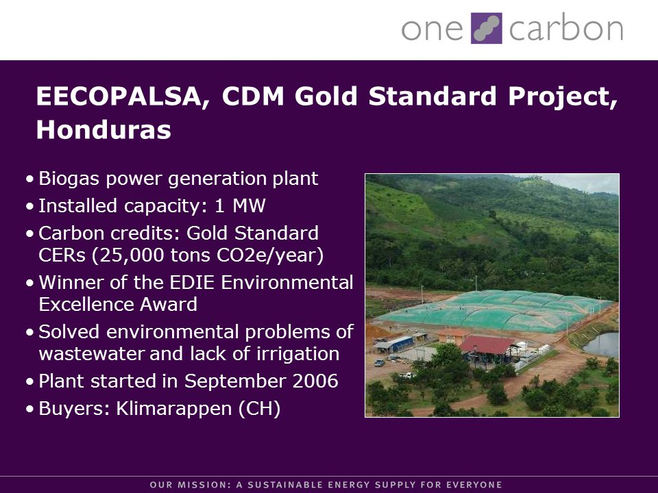EECOPALSA, CDM Gold Standard Project, Honduras Biogas power generation plant Installed capacity: 1 MW Carbon credits: Gold Standard CERs (25,000 tons CO2e/year) Winner of the EDIE Environmental Excellence Award Solved environmental problems of wastewater and lack of irrigation Plant started in September 2006 Buyers: Klimarappen (CH)
