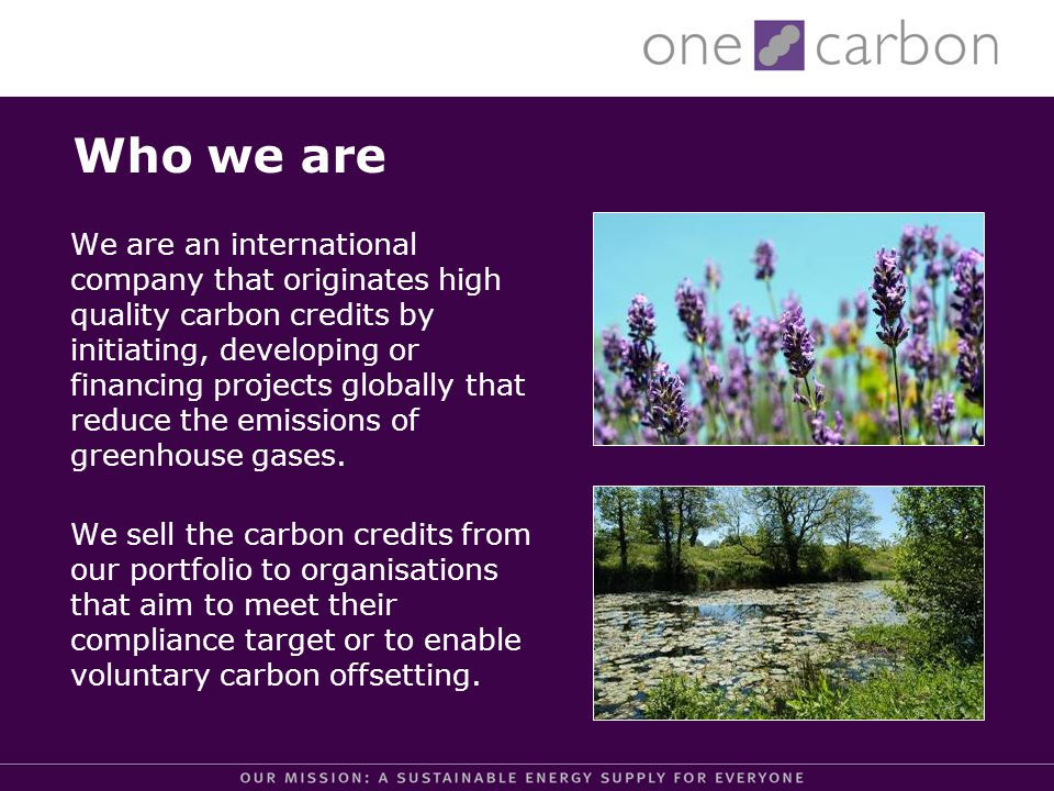 OneCarbon and the Gold Standard Gold Standard: First independent quality label to CDM/JI and voluntary offset projects.