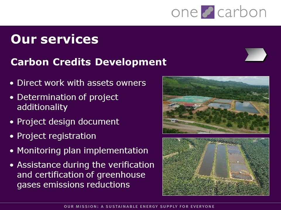 Our services Project concept note Identification of potential buyers Advise on credits buyers selection & documentation Negotiation and support for the Emission Reduction Purchase Agreement (ERPA) Equity support for projects Project Sales Support