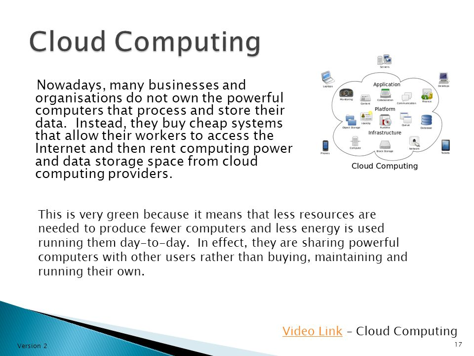Nowadays, many businesses and organisations do not own the powerful computers that process and store their data.