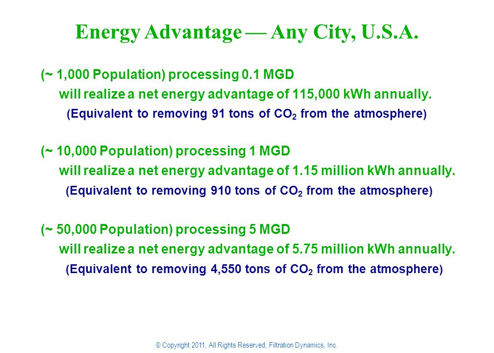 (~ 1,000 Population) processing 0.1 MGD will realize a net energy advantage of 115,000 kWh annually.