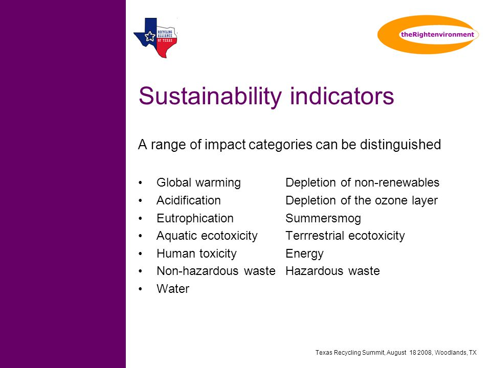 Texas Recycling Summit, August 18 2008, Woodlands, TX Sustainability indicators A range of impact categories can be distinguished Global warmingDepletion of non-renewables AcidificationDepletion of the ozone layer EutrophicationSummersmog Aquatic ecotoxicityTerrrestrial ecotoxicity Human toxicityEnergy Non-hazardous wasteHazardous waste Water