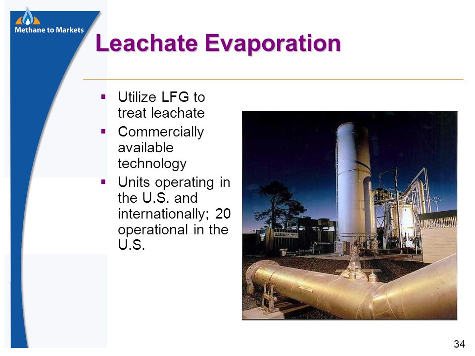 34 Leachate Evaporation  Utilize LFG to treat leachate  Commercially available technology  Units operating in the U.S.
