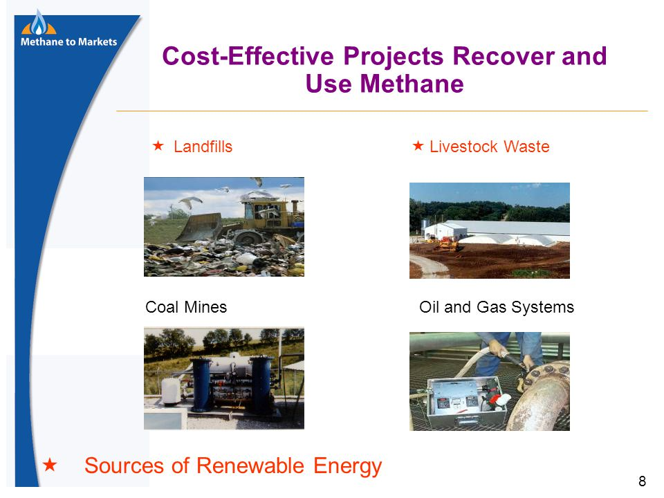 8 Cost-Effective Projects Recover and Use Methane Oil and Gas SystemsCoal Mines  Landfills  Livestock Waste  Sources of Renewable Energy