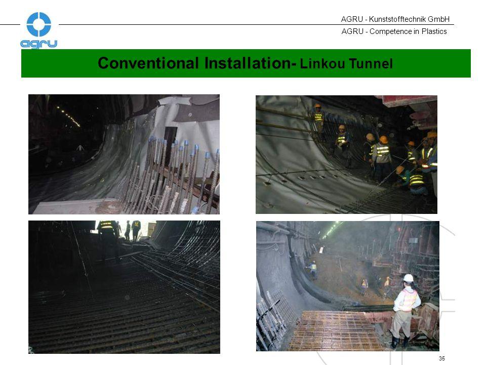 AGRU - Competence in Plastics 35 AGRU - Kunststofftechnik GmbH Conventional Installation- Linkou Tunnel