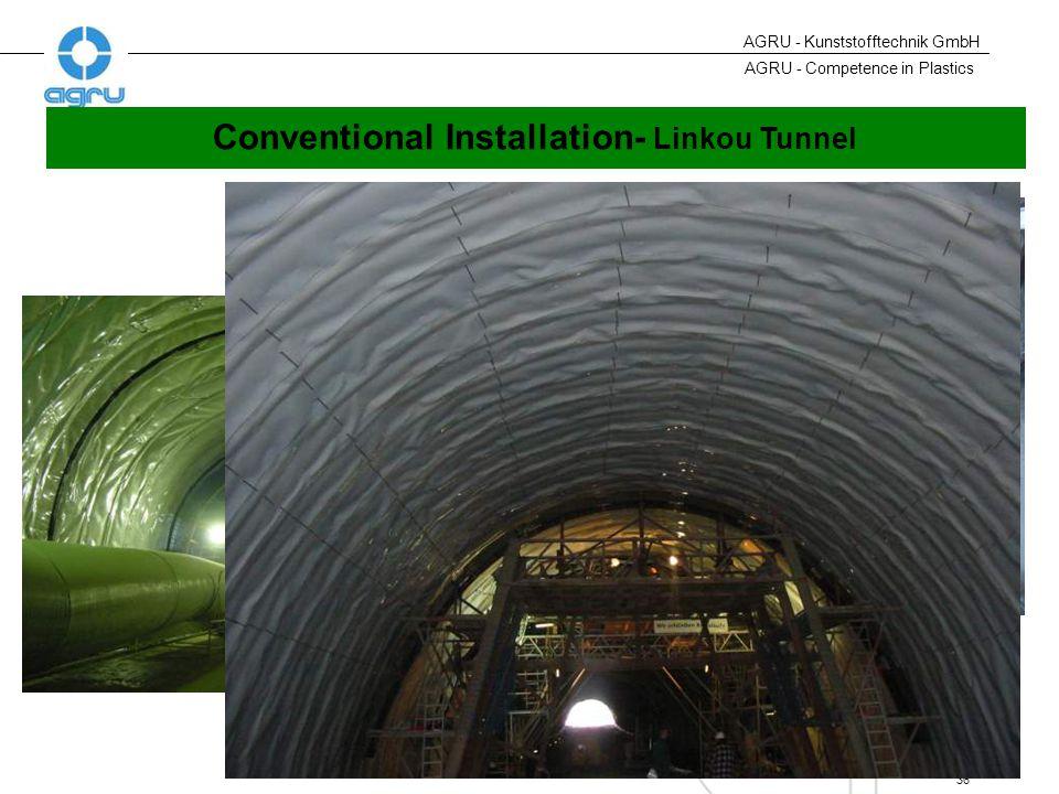 AGRU - Competence in Plastics 36 AGRU - Kunststofftechnik GmbH Conventional Installation- Linkou Tunnel