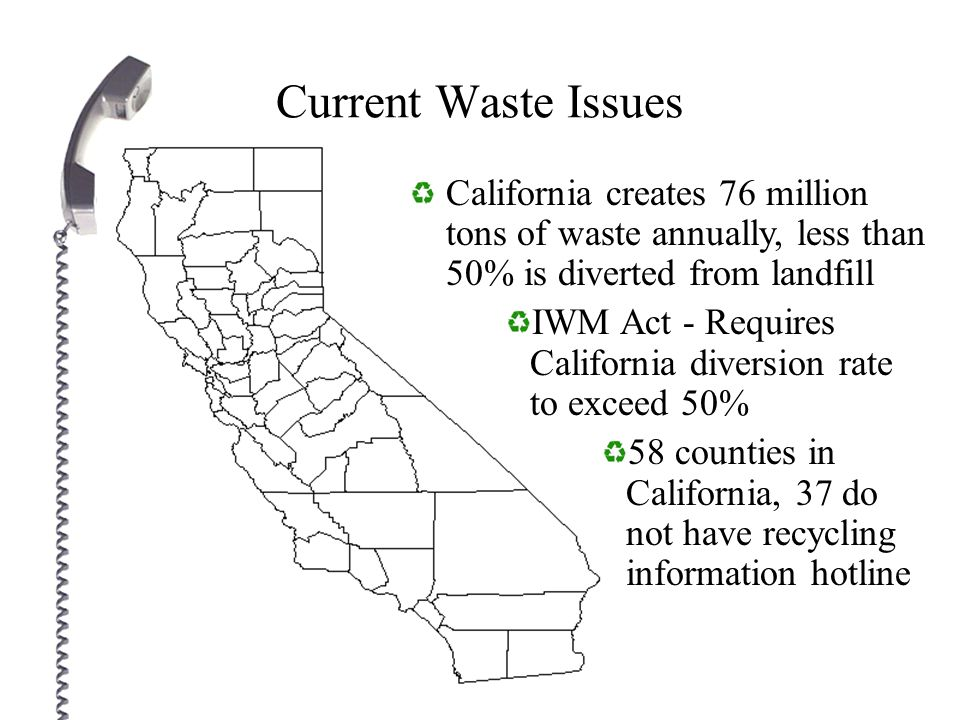 California Recycling Information Network (CalRIN) Information network database for recycle, reuse, and donation centers that service all of California using: State wide 1-800 number Email Website Fax