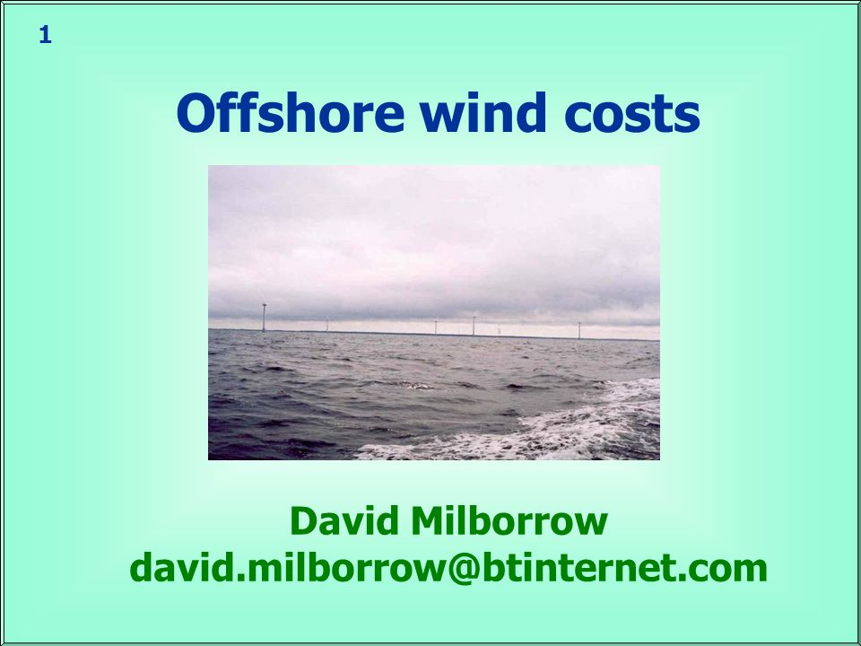 12 Offshore winds Modelling based on upper air winds  Accuracy seems good Winds increase with distance from shore 30 km from shore, winds may be ~0.6 m/s higher That means 15-20% more energy