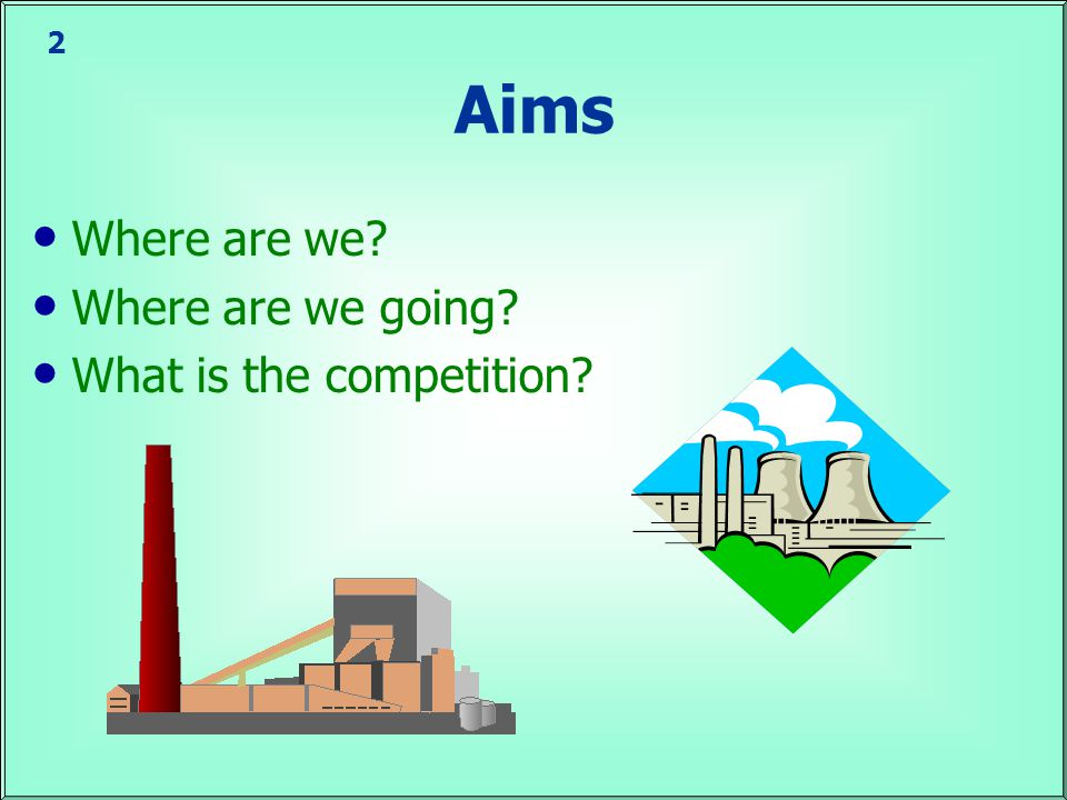 2 Aims Where are we Where are we going What is the competition