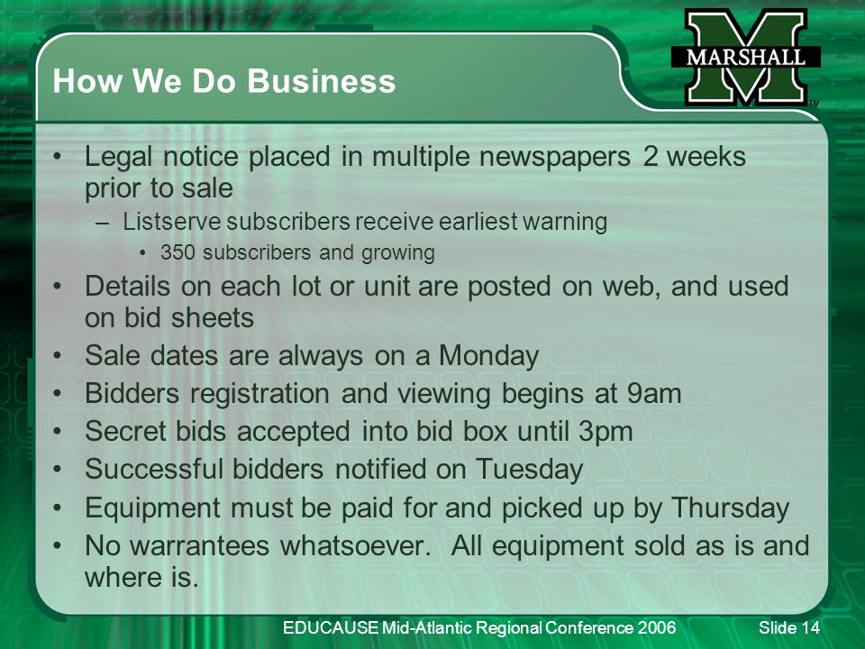 EDUCAUSE Mid-Atlantic Regional Conference 2006Slide 14 How We Do Business Legal notice placed in multiple newspapers 2 weeks prior to sale –Listserve subscribers receive earliest warning 350 subscribers and growing Details on each lot or unit are posted on web, and used on bid sheets Sale dates are always on a Monday Bidders registration and viewing begins at 9am Secret bids accepted into bid box until 3pm Successful bidders notified on Tuesday Equipment must be paid for and picked up by Thursday No warrantees whatsoever.