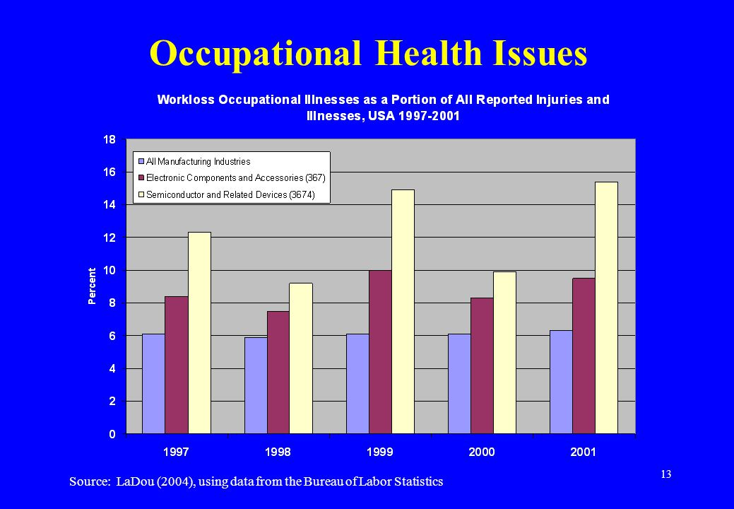 13 Occupational Health Issues Source: LaDou (2004), using data from the Bureau of Labor Statistics