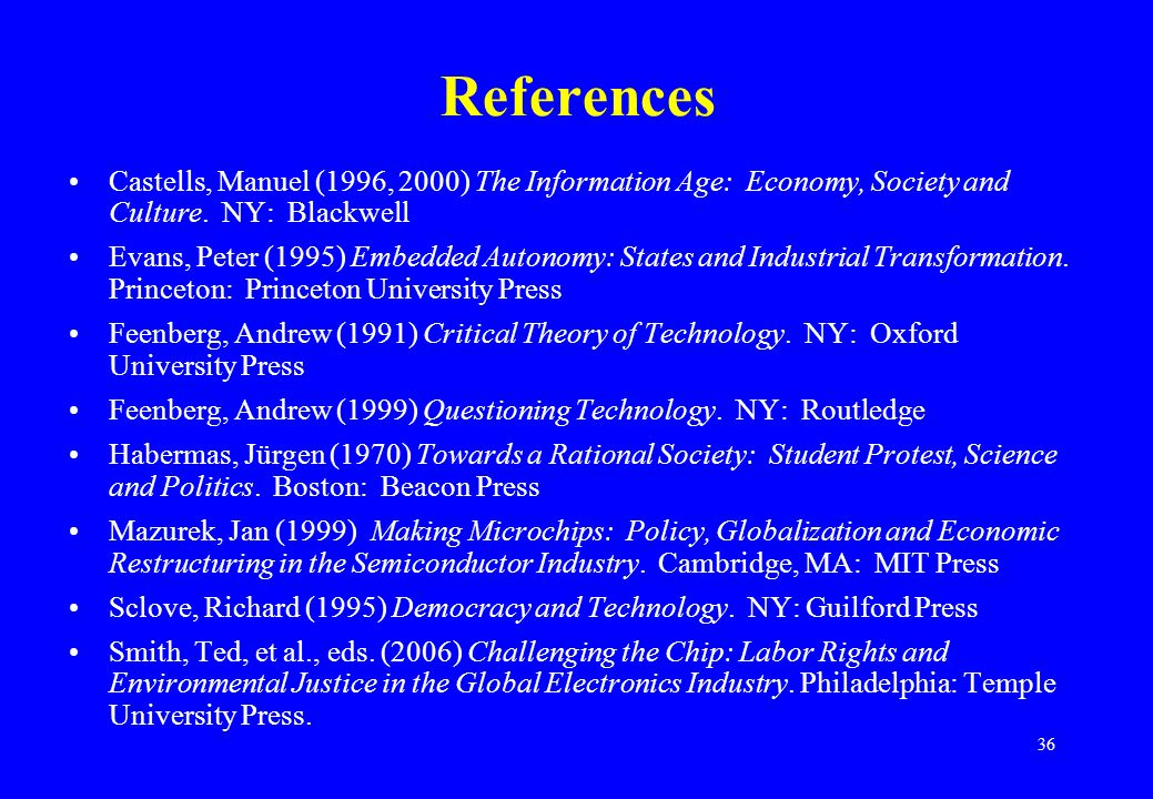 36 References Castells, Manuel (1996, 2000) The Information Age: Economy, Society and Culture.