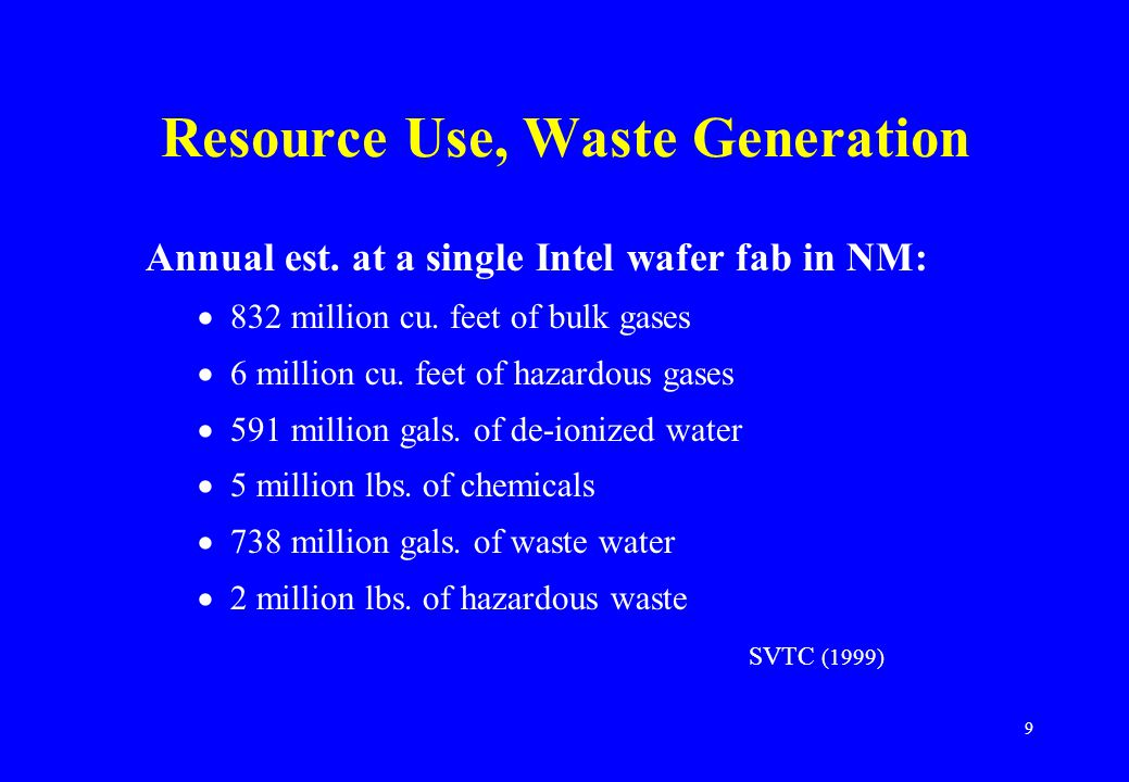 9 Resource Use, Waste Generation Annual est. at a single Intel wafer fab in NM:  832 million cu.