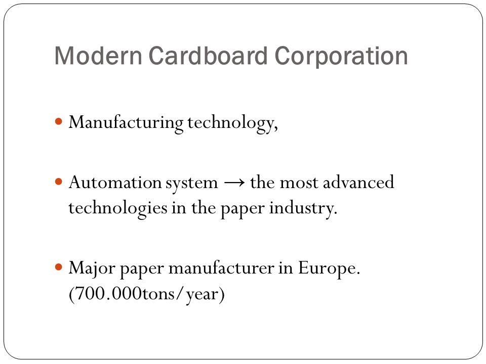 Modern Cardboard Corporation Paper exports leader of Turkey.