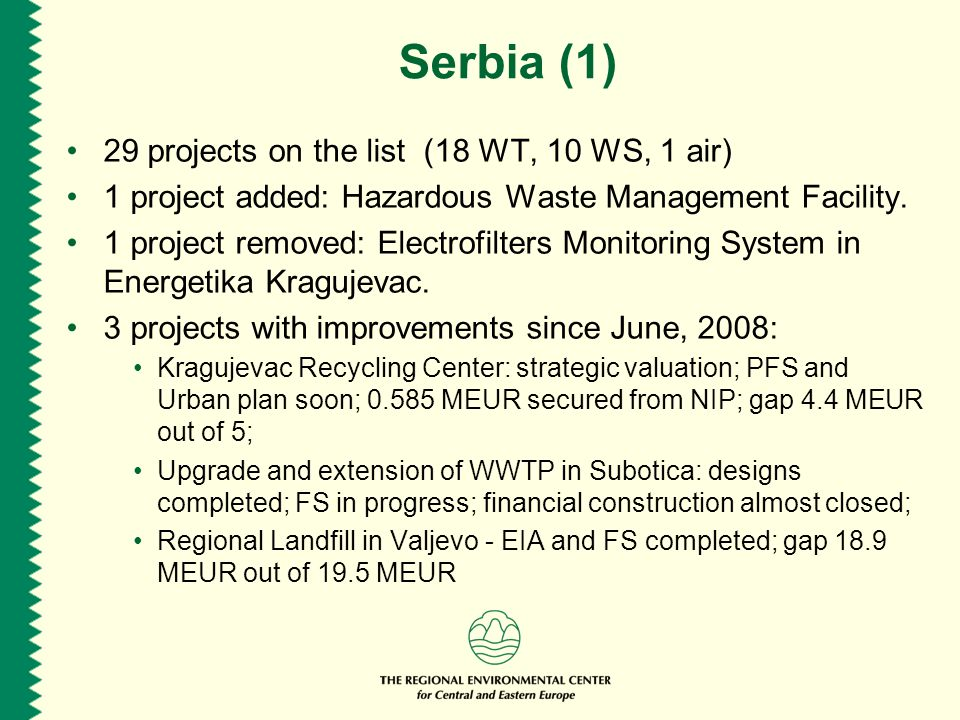 Serbia (1) 29 projects on the list (18 WT, 10 WS, 1 air) 1 project added: Hazardous Waste Management Facility.