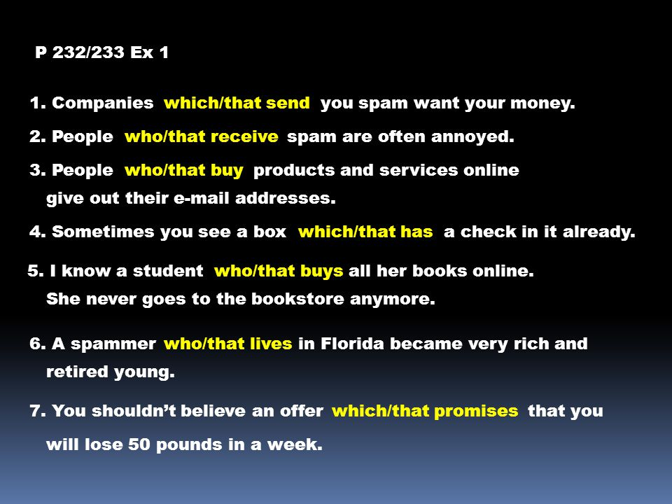P 232/233 Ex 1 1. Companieswhich/that sendyou spam want your money.