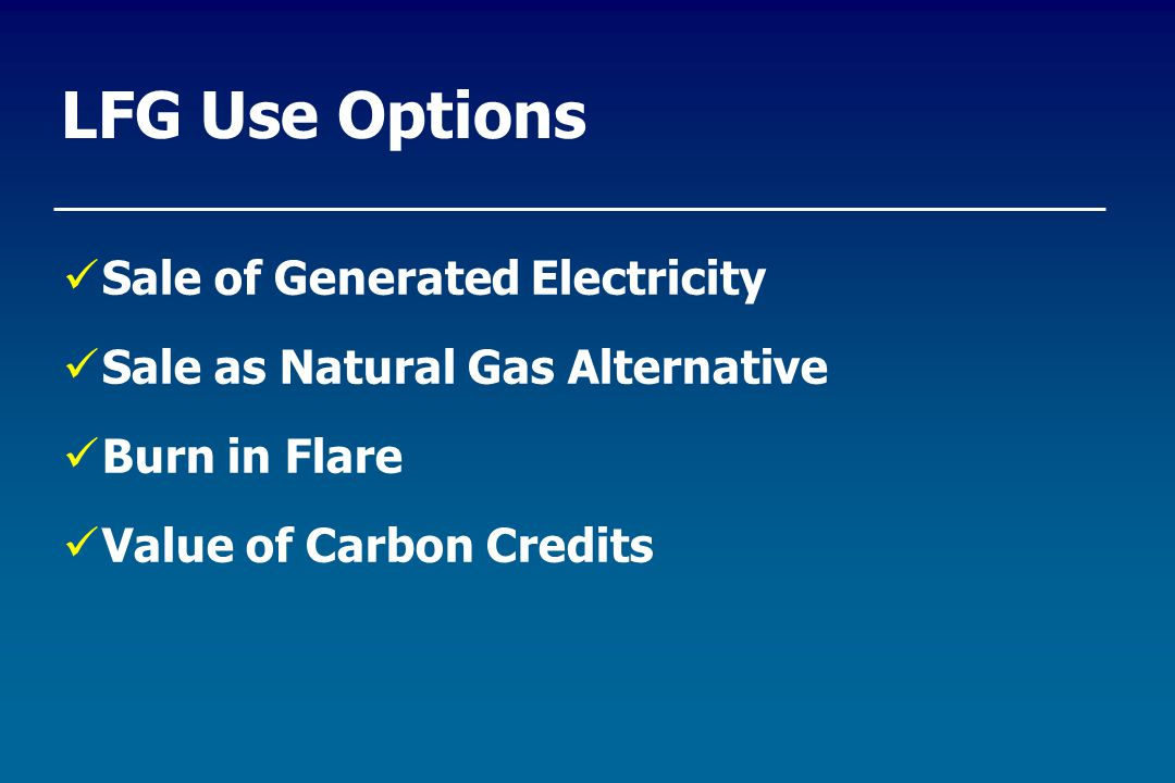LFG Use Options Sale of Generated Electricity Sale as Natural Gas Alternative Burn in Flare Value of Carbon Credits