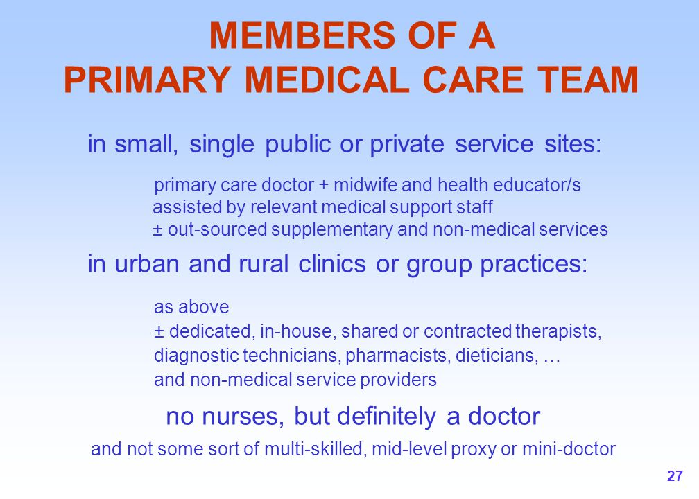 27 MEMBERS OF A PRIMARY MEDICAL CARE TEAM in small, single public or private service sites: primary care doctor + midwife and health educator/s assist