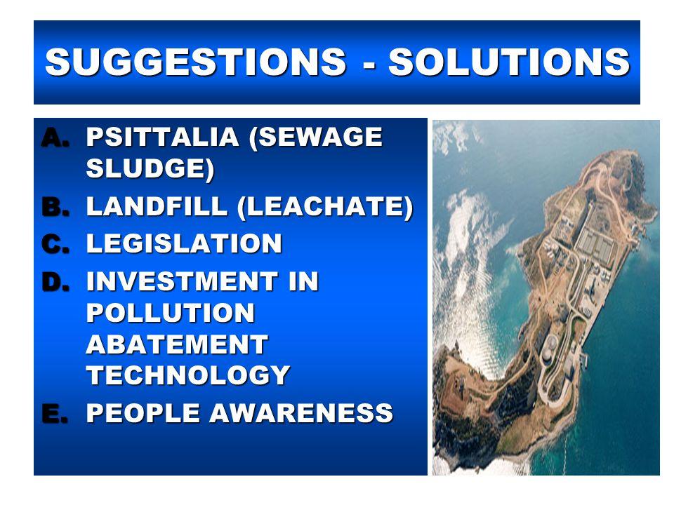 SUGGESTIONS - SOLUTIONS A.PSITTALIA (SEWAGE SLUDGE) B.LANDFILL (LEACHATE) C.LEGISLATION D.INVESTMENT IN POLLUTION ABATEMENT TECHNOLOGY E.PEOPLE AWAREN