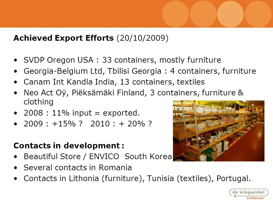 Achieved Export Efforts (20/10/2009) SVDP Oregon USA : 33 containers, mostly furniture Georgia-Belgium Ltd, Tbilisi Georgia : 4 containers, furniture