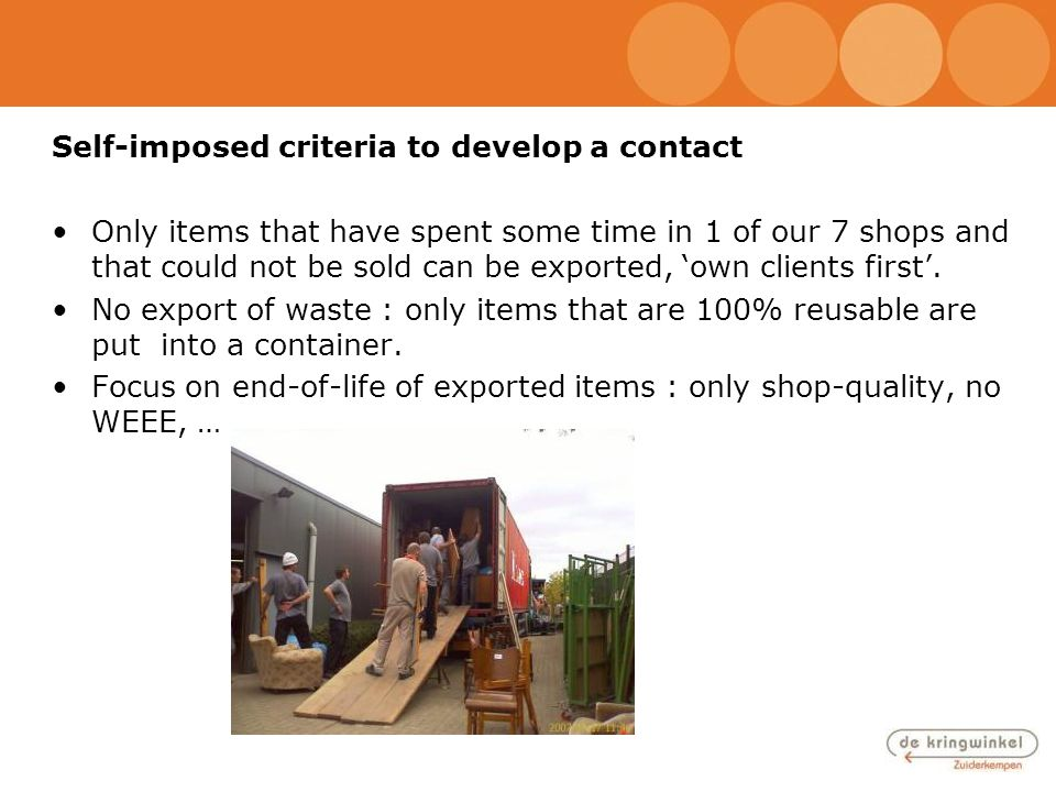 Self-imposed criteria to develop a contact Only items that have spent some time in 1 of our 7 shops and that could not be sold can be exported, 'own c