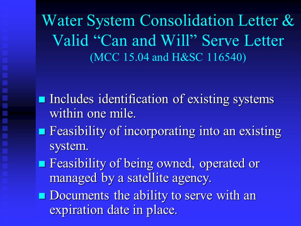 Includes identification of existing systems within one mile.