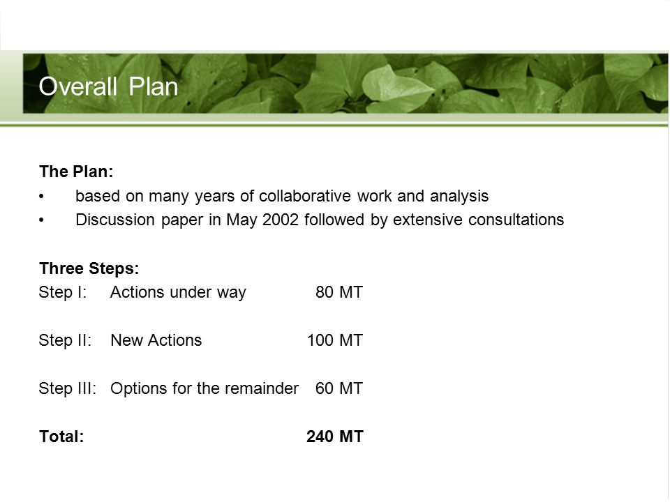 Overall Plan The Plan: based on many years of collaborative work and analysis Discussion paper in May 2002 followed by extensive consultations Three Steps: Step I: Actions under way 80 MT Step II: New Actions100 MT Step III: Options for the remainder 60 MT Total:240 MT