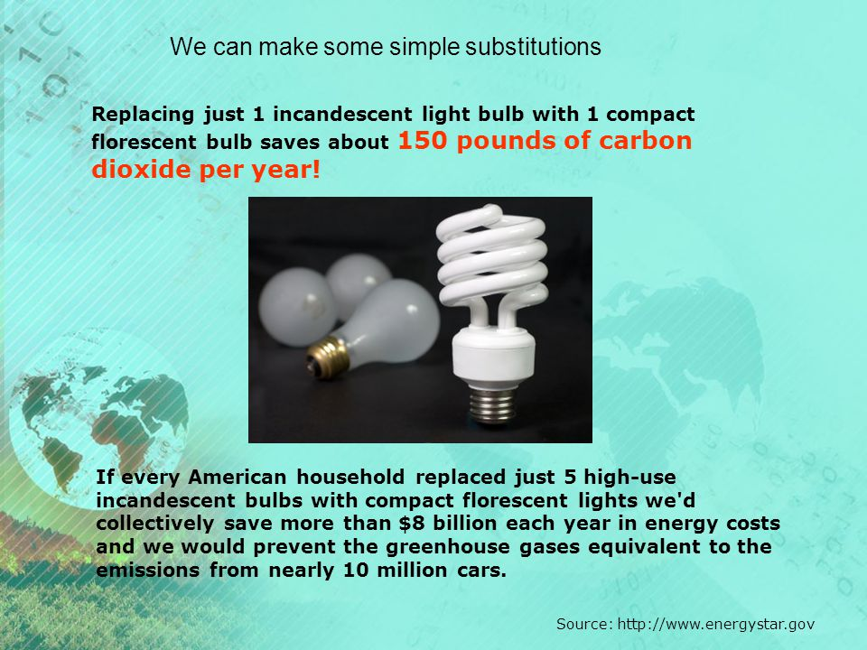 We can make some simple substitutions Replacing just 1 incandescent light bulb with 1 compact florescent bulb saves about 150 pounds of carbon dioxide per year.