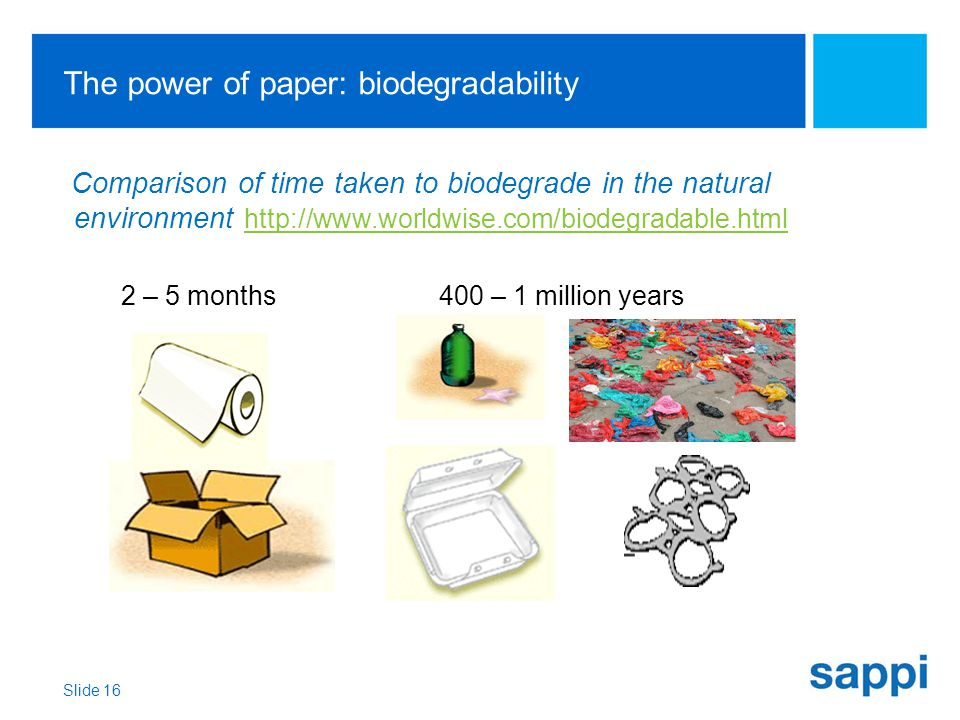 The power of paper: biodegradability Comparison of time taken to biodegrade in the natural environment http://www.worldwise.com/biodegradable.html http://www.worldwise.com/biodegradable.html 2 – 5 months400 – 1 million years Slide 16