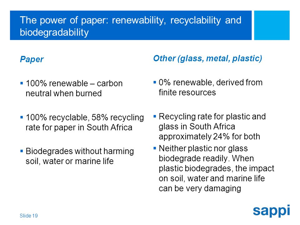 The power of paper: renewability, recyclability and biodegradability Paper  100% renewable – carbon neutral when burned  100% recyclable, 58% recycling rate for paper in South Africa  Biodegrades without harming soil, water or marine life Other (glass, metal, plastic)  0% renewable, derived from finite resources  Recycling rate for plastic and glass in South Africa approximately 24% for both  Neither plastic nor glass biodegrade readily.