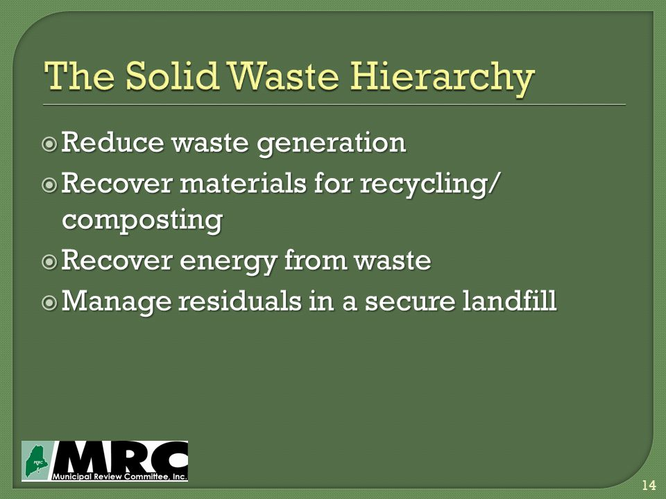 Reduce waste generation  Recover materials for recycling/ composting  Recover energy from waste  Manage residuals in a secure landfill 14