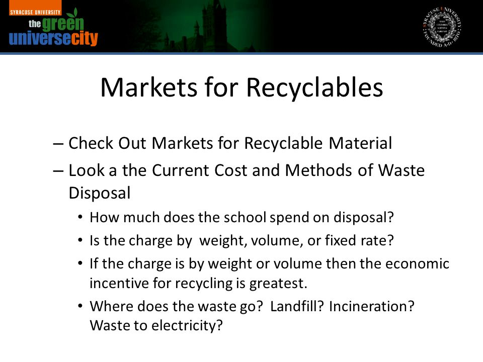 Markets for Recyclables – Check Out Markets for Recyclable Material – Look a the Current Cost and Methods of Waste Disposal How much does the school spend on disposal.