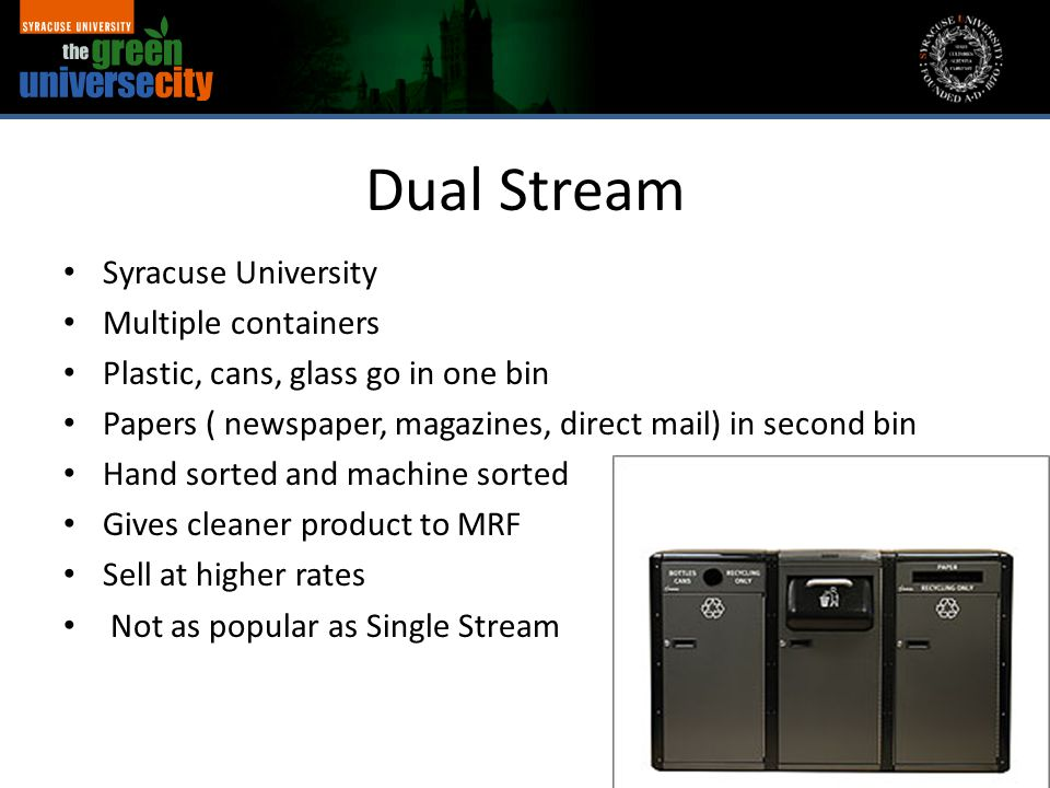 Dual Stream Syracuse University Multiple containers Plastic, cans, glass go in one bin Papers ( newspaper, magazines, direct mail) in second bin Hand