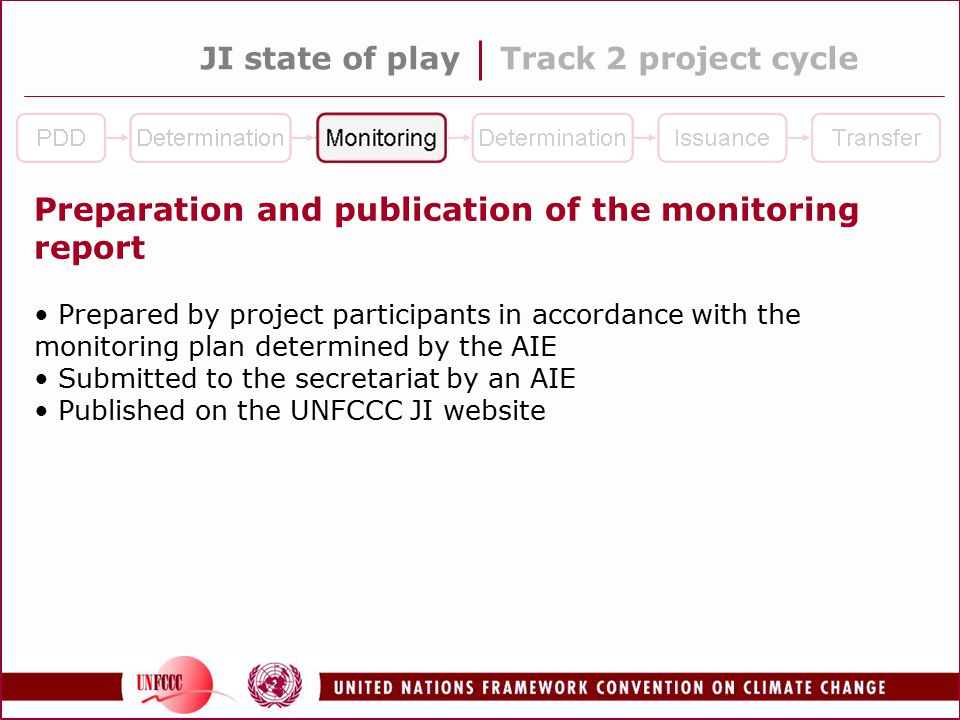 JI state of playTrack 2 project cycle Preparation and publication of the monitoring report Prepared by project participants in accordance with the monitoring plan determined by the AIE Submitted to the secretariat by an AIE Published on the UNFCCC JI website
