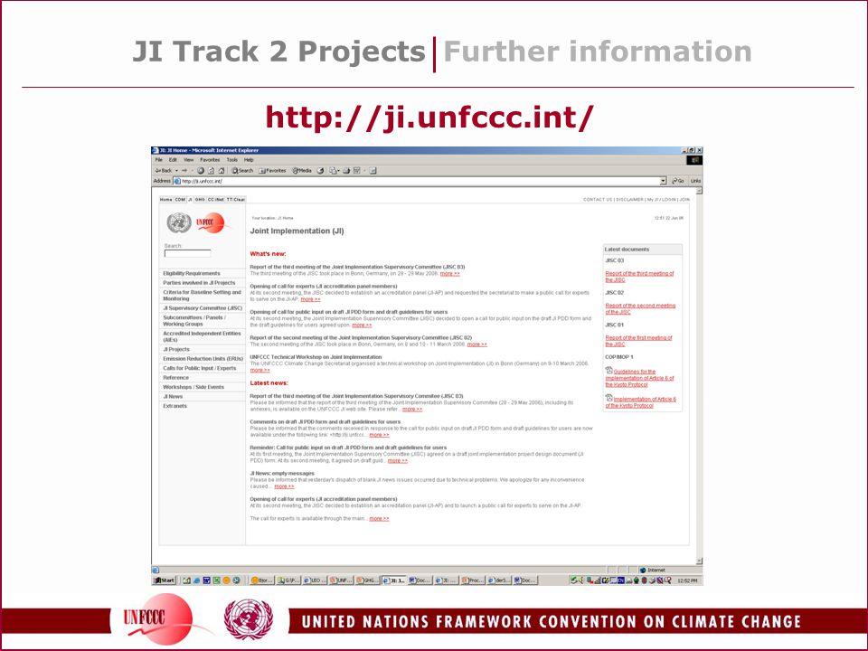 JI Track 2 ProjectsFurther information http://ji.unfccc.int/