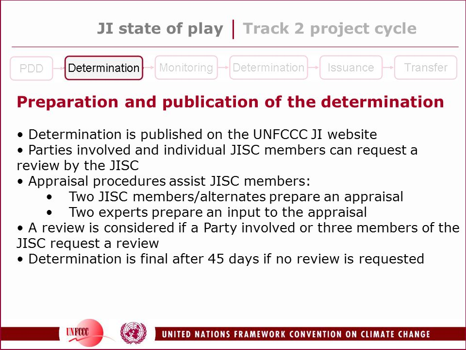 JI state of playTrack 2 project cycle Preparation and publication of the determination Determination is published on the UNFCCC JI website Parties involved and individual JISC members can request a review by the JISC Appraisal procedures assist JISC members: Two JISC members/alternates prepare an appraisal Two experts prepare an input to the appraisal A review is considered if a Party involved or three members of the JISC request a review Determination is final after 45 days if no review is requested
