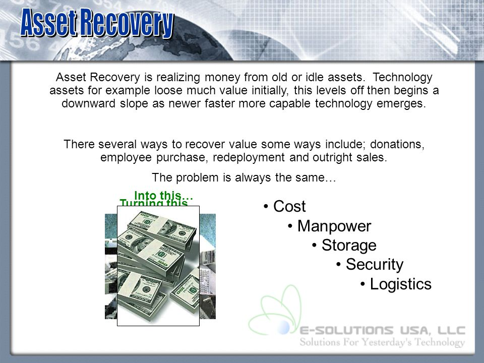 Asset Recovery is realizing money from old or idle assets.