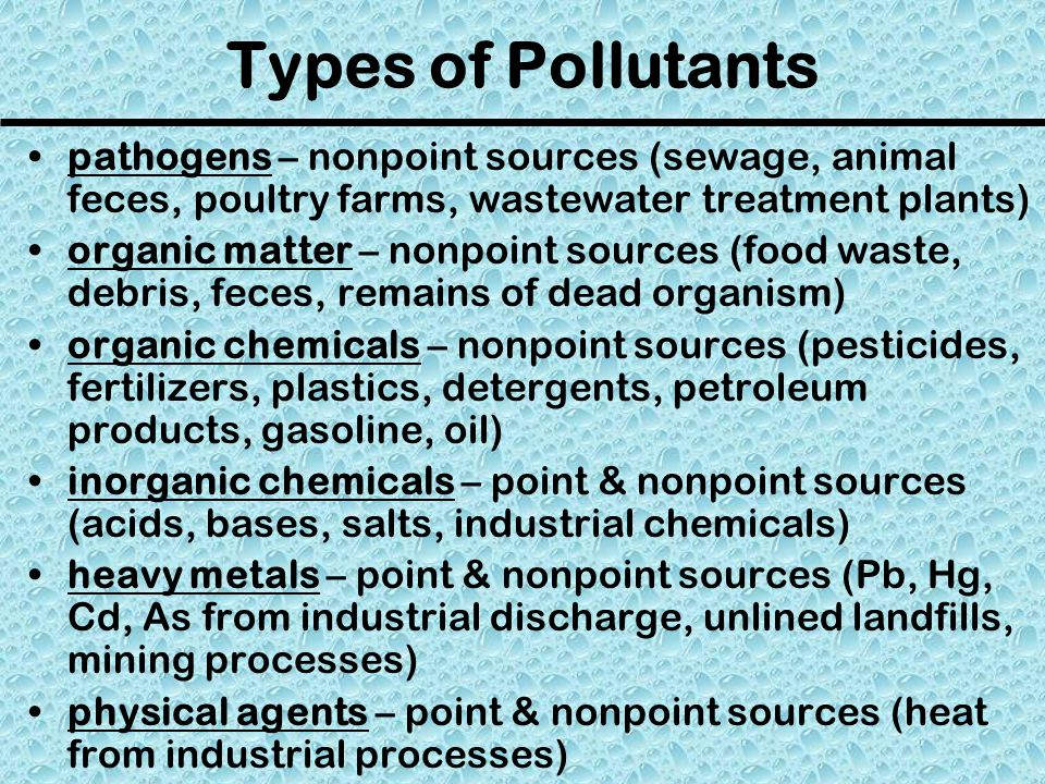 Groundwater Pollution pesticides, herbicides, chemical fertilizers, & petroleum products on the land surface or in bodies of water can percolate down into the Earth & become part of the groundwater system leaking from underground storage tanks (most hold petroleum products) is another major source