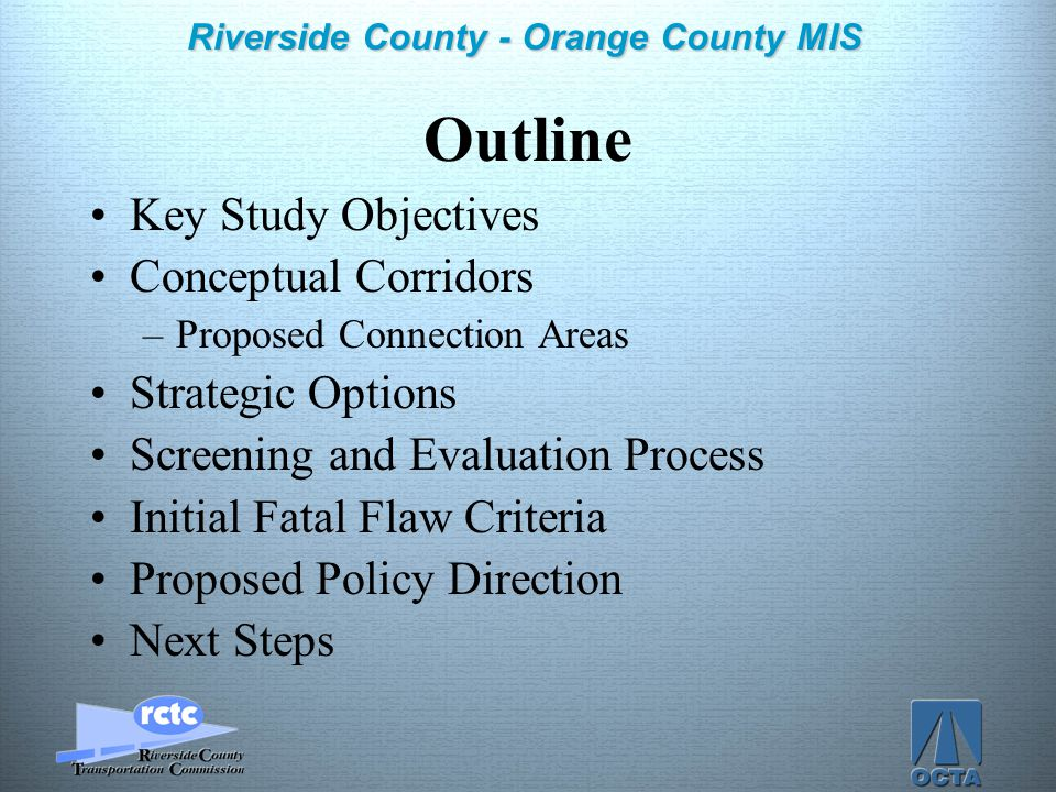 Click to edit Master title style Click to edit Master text styles –Second level Third level –Fourth level »Fifth level 2 Riverside County - Orange Cou