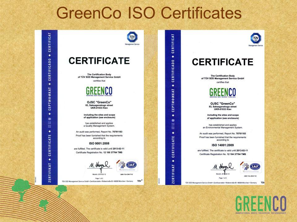 GreenCo ISO Certificates