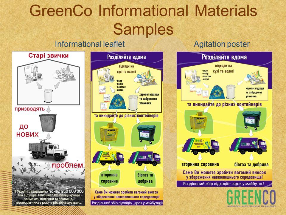 Informational leafletAgitation poster GreenCo Informational Materials Samples