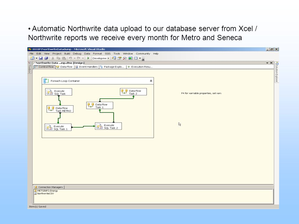 Automatic Northwrite data upload to our database server from Xcel / Northwrite reports we receive every month for Metro and Seneca